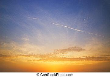 piękny, niebo, zachód słońca, czas
