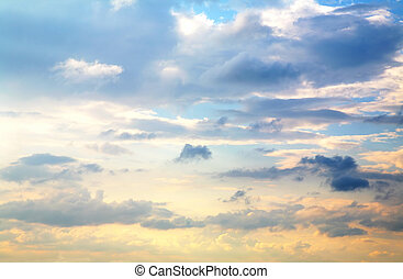 piękny, niebo zachodu słońca