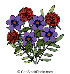 piękny, ozdoba, kwiaty, liście
