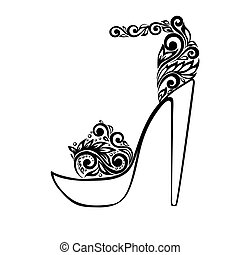 piękny, ozdoba, sandały, czarnoskóry, kwiatowy, ozdobny, biały