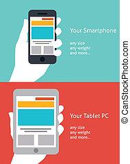 piękny, płaski, smartphone, tabliczka, projektować, ikona