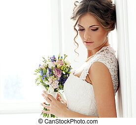 piękny, panna młoda, wedding.