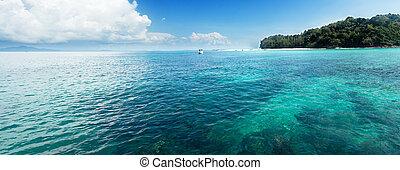 piękny, panorama, lustrzany, dzień, motyw morski