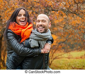 piękny, para, wiek średni, jesień, outdoors, dzień, szczęśliwy