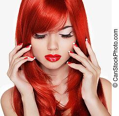 piękny, piękno, na, hair., długi, portrait., manicured, dziewczyna, czerwony
