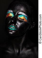 piękny, plastyk, niezwykły, kobieta, sztuka, barwny, fotografia, makijaż, maska, twarz, jasny, czarnoskóry, wzór, twórczy
