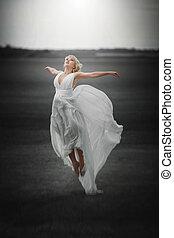 piękny, podmuchowy, magia, flying., fairy., dziewczyna, strój