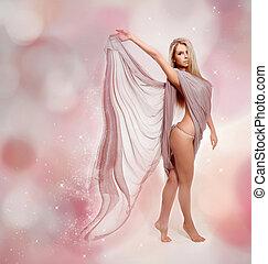 piękny, podmuchowy, przelotny, fairy., blond, dziewczyna, strój