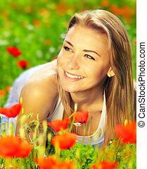 piękny, pole, cieszący się, kwiat, samica