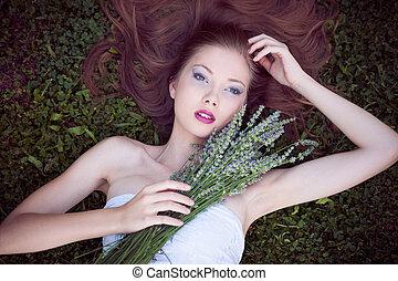 piękny, pole, kobieta, młody, lawenda
