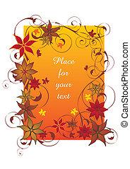 piękny, pomarańcza, jesień, ułożyć