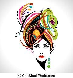 piękny, portret, fason, kobiety