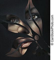 piękny, portret, kobieta, mający kształt