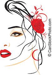 piękny, portret, kobieta