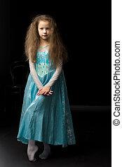 piękny, przy stroju, dziewczyna, karnawał, księżna, błękitny
