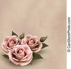 piękny, różowy, illustration., buds., róże, wektor, retro, tło