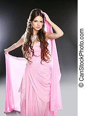 piękny, różowy, kobieta, szyfon, h, młody, makeup., dress., falisty, długi