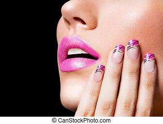 piękny, różowy, paznokcie, usteczka, dziewczyna