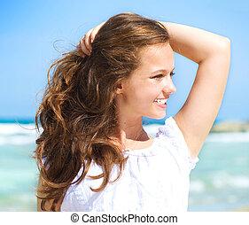 piękny, resort., ocean, tropikalny, dziewczyna, plaża