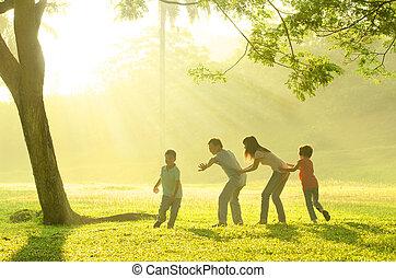 piękny, rodzina, radość, park, rano, asian, podczas, interpretacja