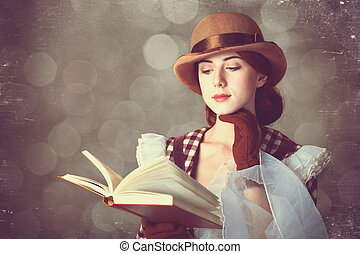 piękny, rudzielec, book., kobiety