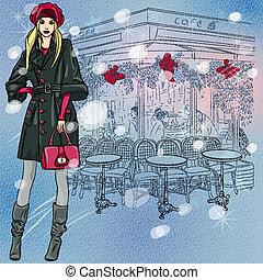piękny, rys, zima, paryżanin, modny, ozdoby, dziewczyna, kawiarnia, boże narodzenie