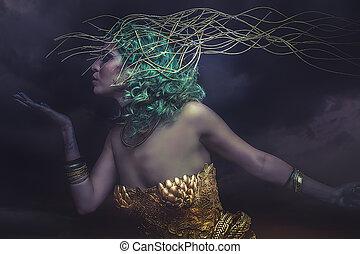 piękny, sen, bogini, kobieta, wojownik, złoty, armor., włosy, kaprys, zielony, bóstwo
