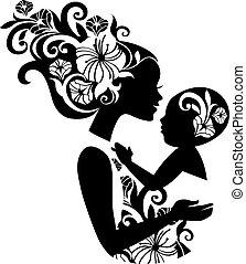 piękny, sling., sylwetka, ilustracja, niemowlę, macierz, kwiatowy