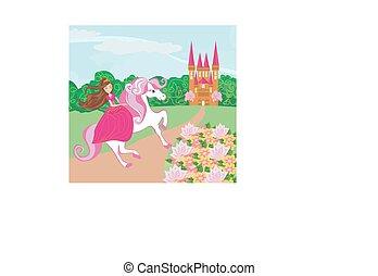 piękny, sprytny, koń, księżna, jej