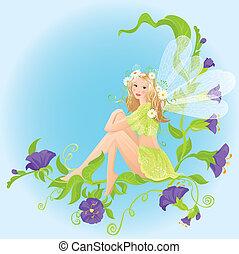 piękny, sprytny, mały, posiedzenie, las, dziki, wróżka, kwiaty