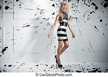 piękny, styl, fason, fotografia, kobieta, blond