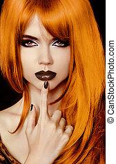 piękny, styl, fason, hairstyle., girl., usteczka, czarnoskóry, portret, polski, woman., moda, nails.