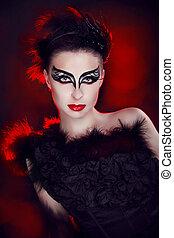 piękny, styl, fason, sztuka, girl., przedstawianie, portret, closeup, woman., moda, wzór, studio.