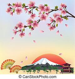 piękny, styl, tło, kwiat, wiśnia, -, japończyk, ilustracja, wektor, sakura, vector., drzewo., krajobraz