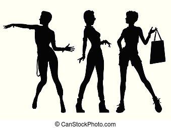 piękny, sylwetka, czarnoskóry, kobiety