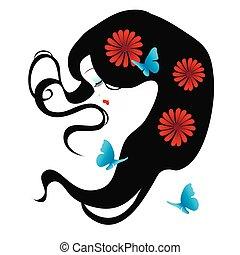 piękny, sylwetka, jej, włosy, dziewczyna, kwiaty