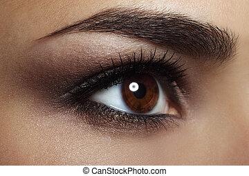 piękny, szczelnie-do góry, oko, samica, makeup.