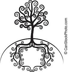 piękny, sztuka, drzewo