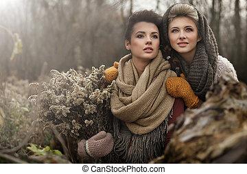 piękny, sztuka, fotografia, dwa, delikatny, kobiety
