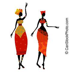 piękny, tradycyjny, kobieta, kostium, afrykanin