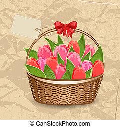 piękny, tulipany, kosz, etykieta