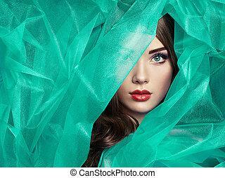 piękny, turkus, fason, fotografia, pod, welon, kobiety