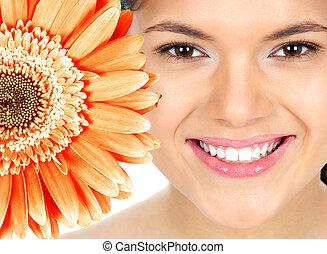 piękny, uśmiech, kobieta, flower.