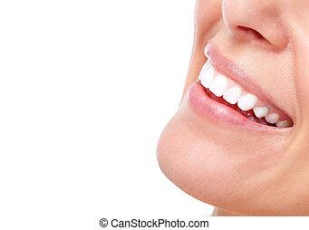 piękny, uśmiech, kobieta, teeth.