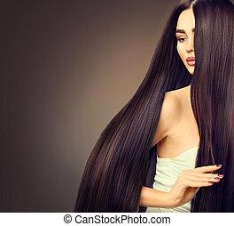 piękny, włosy, brunetka, dziewczyna, na, długi, ciemny, czarne tło, wzór, prosty