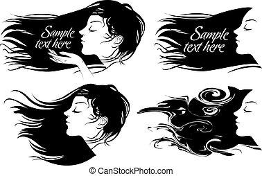piękny, włosy, dziewczyna, długi