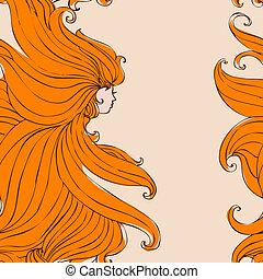 piękny, włosy, dziewczyna, seamless