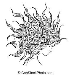 piękny, włosy, głowa, flyin, dziewczyna