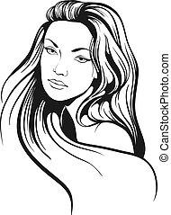 piękny, włosy, rys, kobieta, długi
