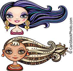 piękny, włosy, styl, dziewczyny, chłodny